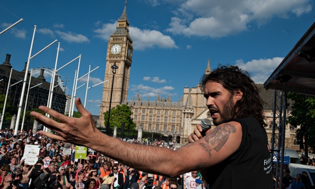 Image of Russell Brand at anti-austerity march 21 June 2014