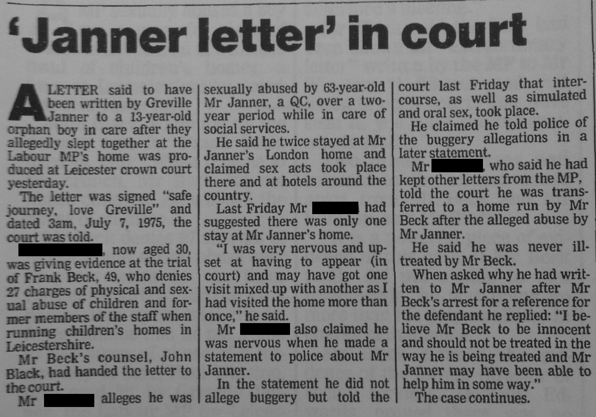 Graville Jenner letter in court