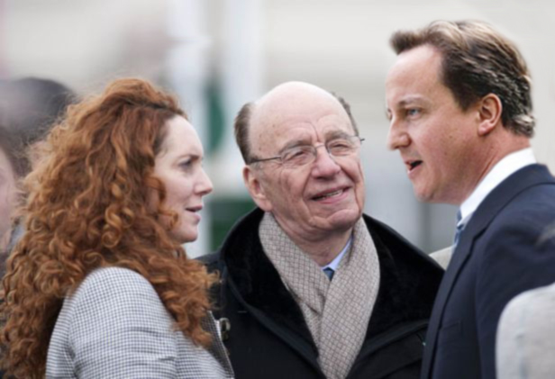 image of David Cameron, Rupert Murdoch and Rebekah Brooks