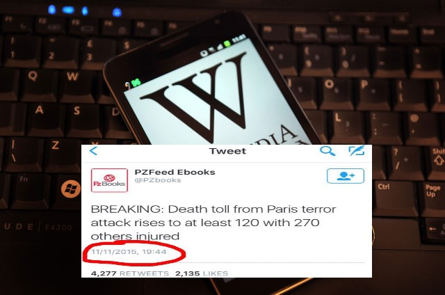 Paris attacks reported at wikipedia and twitter before they happened