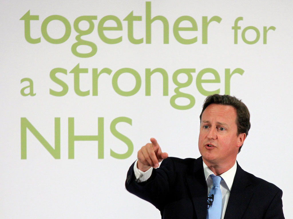 Image of David Cameron in front of a Conservative lie on the NHS