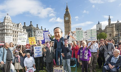 Image of a rally against the lobbying bill in London on 8 October.