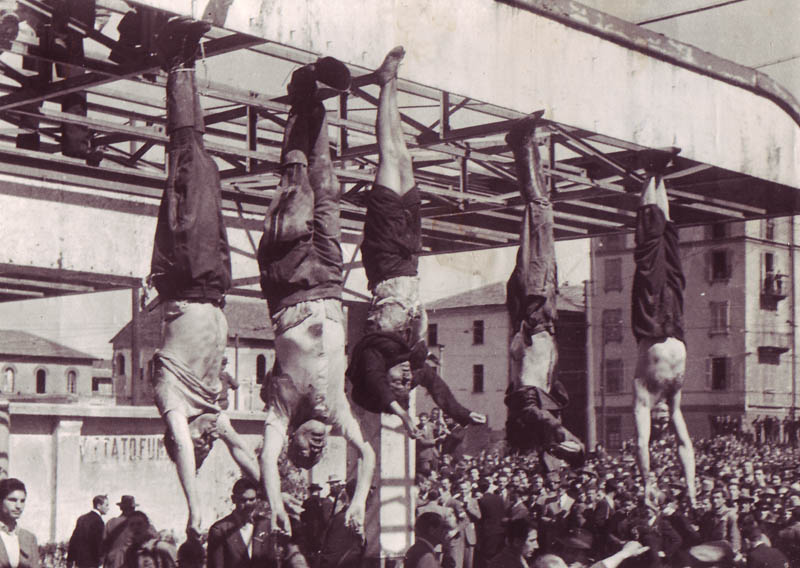 Image of Mussolini & Co hanging out. What happens to Fascists.