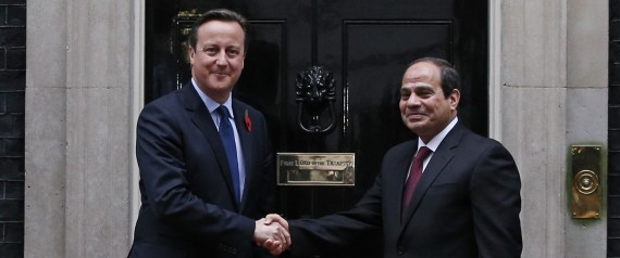 David Cameron greets Egyptian dictator al Sisi at Downing St
