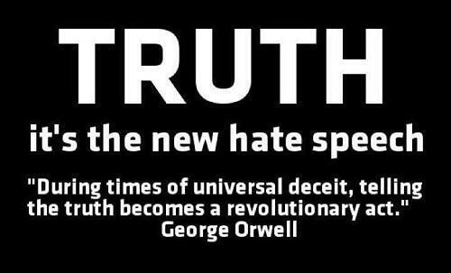 "Image reads ""TRUTH the new hate speech"""